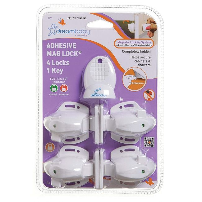 Dreambaby White Child Safety Adhesive Mag Locks - 4 Locks, 1 Key