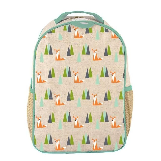 SoYoung Raw Linen Olive Fox Toddler Backpack