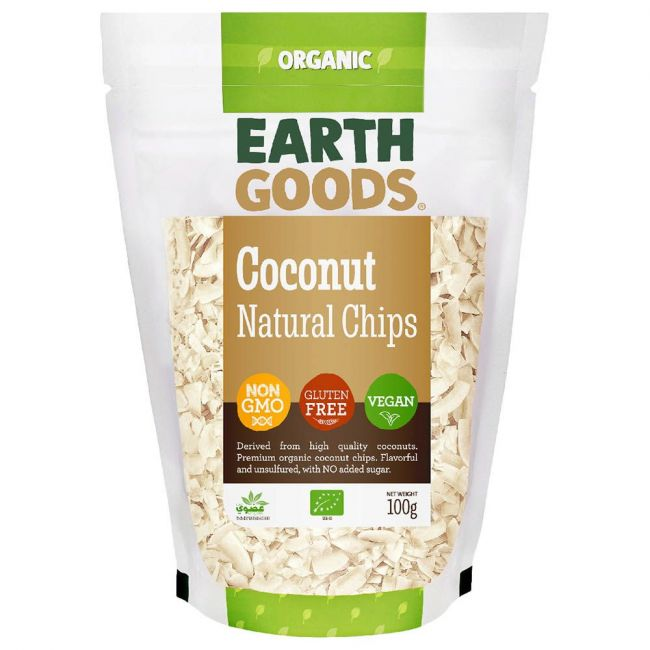 Earth Goods - Organic Natural Coconut Chips - 100g