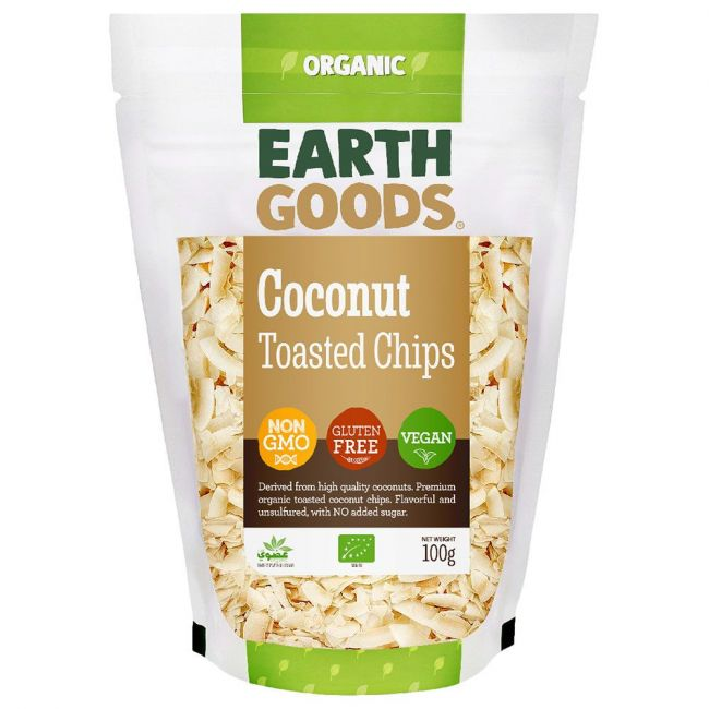 Earth Goods - Organic Toasted Coconut Chips - 100g