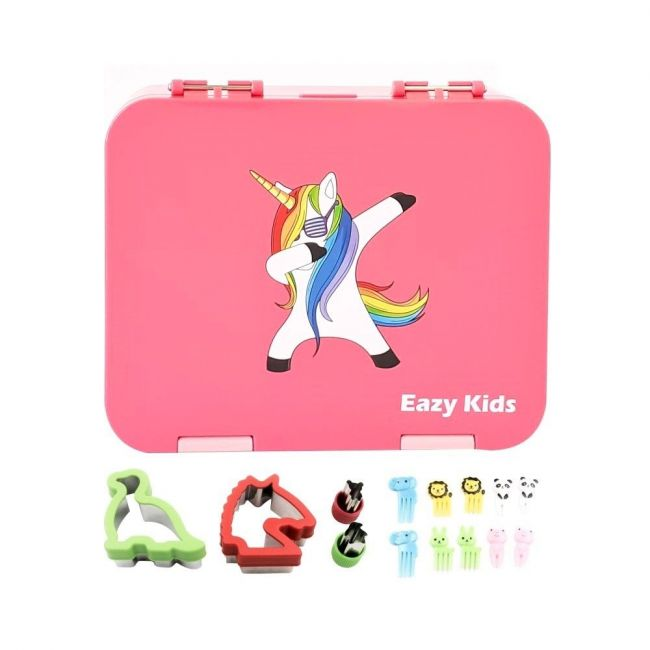 Eazy Kids - 4 Compartment Bento Lunch Box Unicorn Pink
