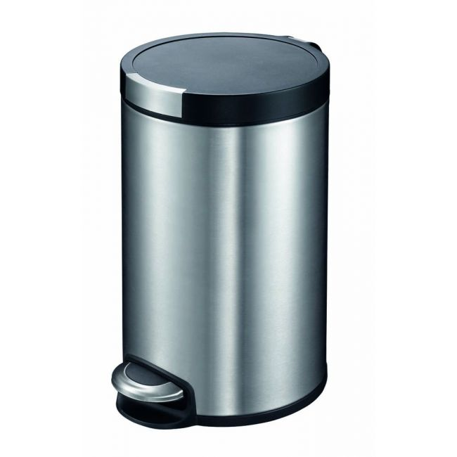 Eko - Artistic Stainless Steel Round Step Waste Bin With Soft Close Lid, 12-Liter