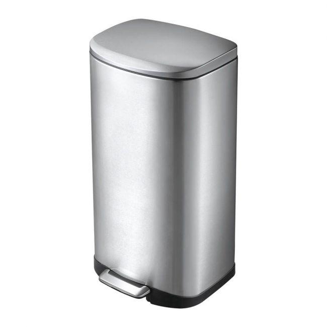 Eko - Della Stainless Steel Rectangular Step Waste Bin With Soft Close Lid - 35 Liter