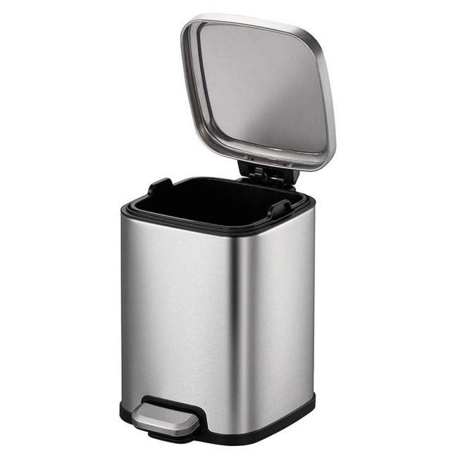 Eko - Stella 6 Liter Square Stainless Steel Step Waste Bin