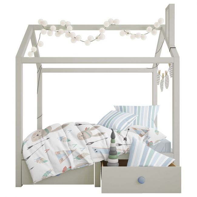 Elli Junior - 100% Organic Double Sided Duvet Cover Set Camp/Stripes - Toddler Bed