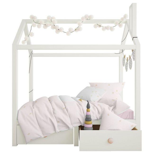 Elli Junior - 100% Organic Double Sided Duvet Cover Set Lets Sleep/Stars - Toddler Bed