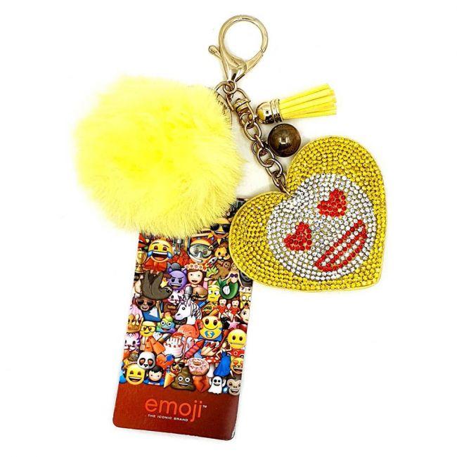 Emoji - Elegant Heart Shaped Crystal Embellished Pompom Key Ring Chain