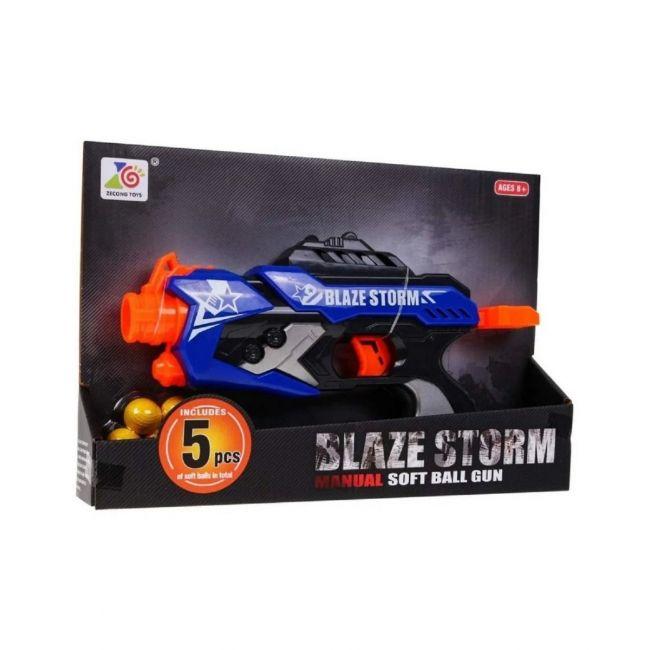 Blaze - Storm Gun with 5 Soft Balls - Blue