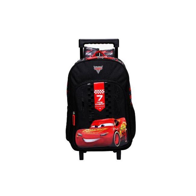 Disney Cars Printed Trolley Backpack with Zip Closure
