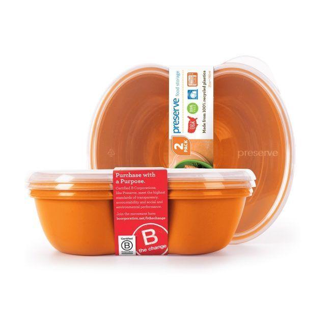 Preserve Sandwich Food Storage Orange 2 Pack