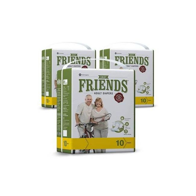 Friends - Adult Diapers Easy Medium 10 Pieces Pack of 3