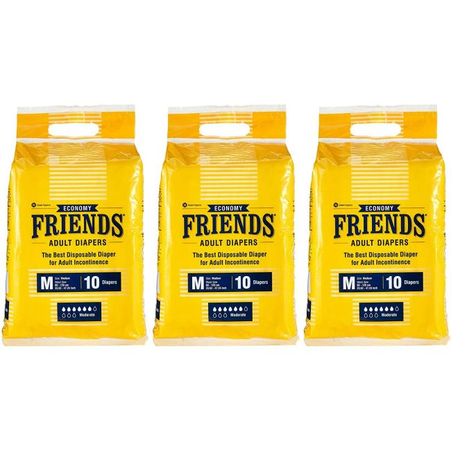 Friends - Adult Diapers Economy Medium 10 Pieces Pack of 3