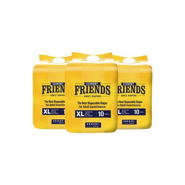 Friends - Adult Diapers Economy X Large 10 Pieces Pack of 3