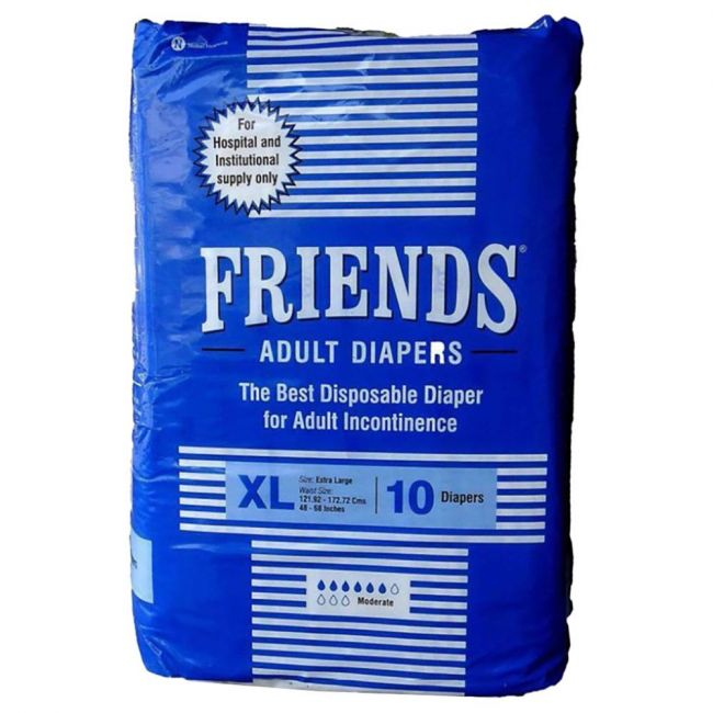 Friends - Adult Diapers, Hospital, Extra Large - 10 Pcs