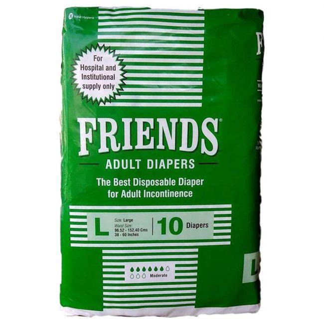 Friends - Adult Diapers, Hospital, Large - 10 Pcs