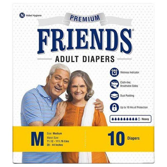 Friends - Adult Diapers, Premium Medium - 10 Pcs