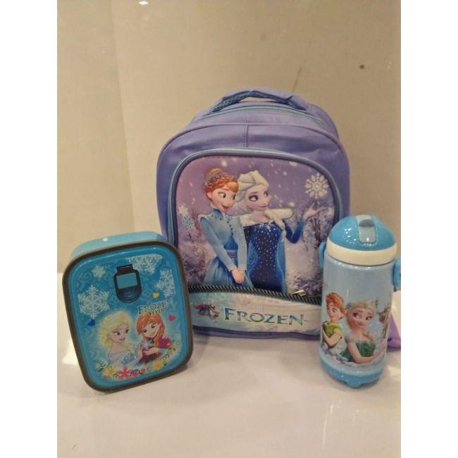 EM - Frozen Blue Bundle Cartoon Bag Lunch Box Water Bottle For Kids