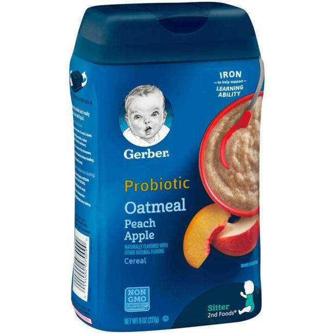 Gerber - 2Nd Foods Cereal Oat Meal Peach Apple Probiotic 226 79 Grams