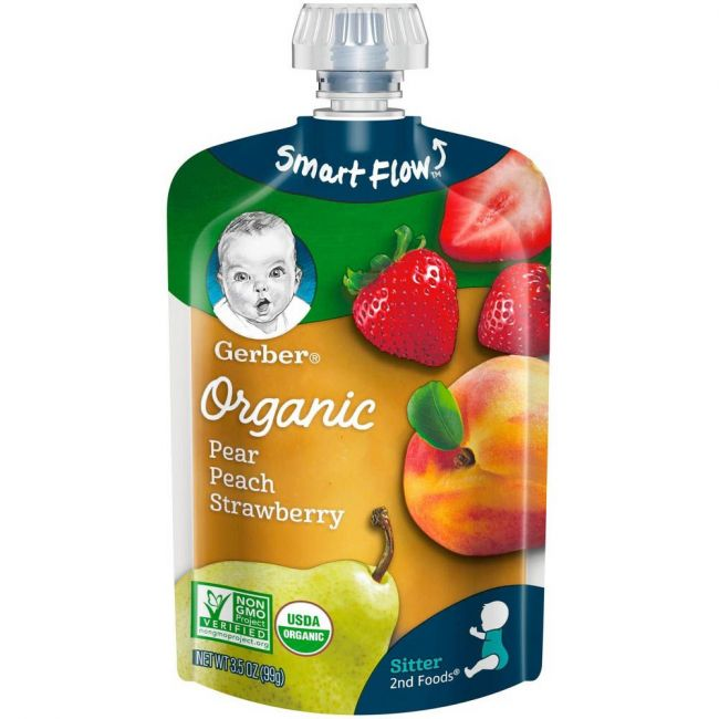Gerber - 2Nd Foods Organic Pear Peach Strawberry 99 Grams