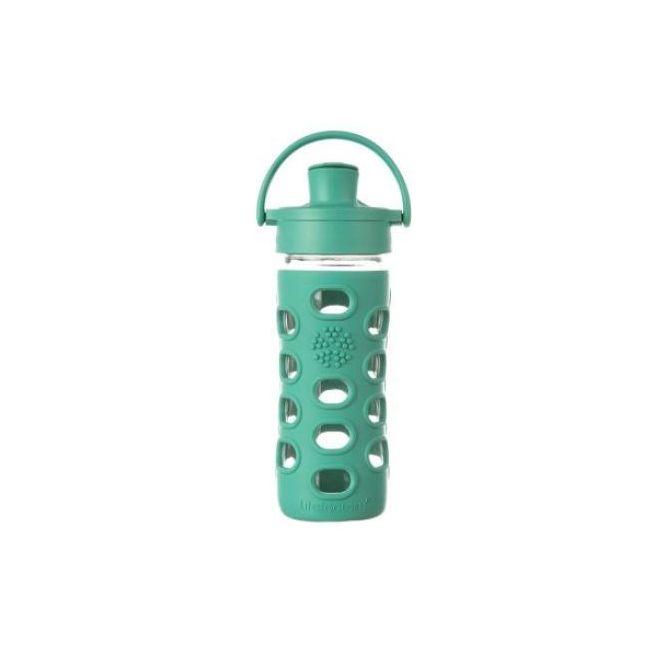 Lifefactory 12 oz Glass Water Bottle with Active Flip Cap - Kale