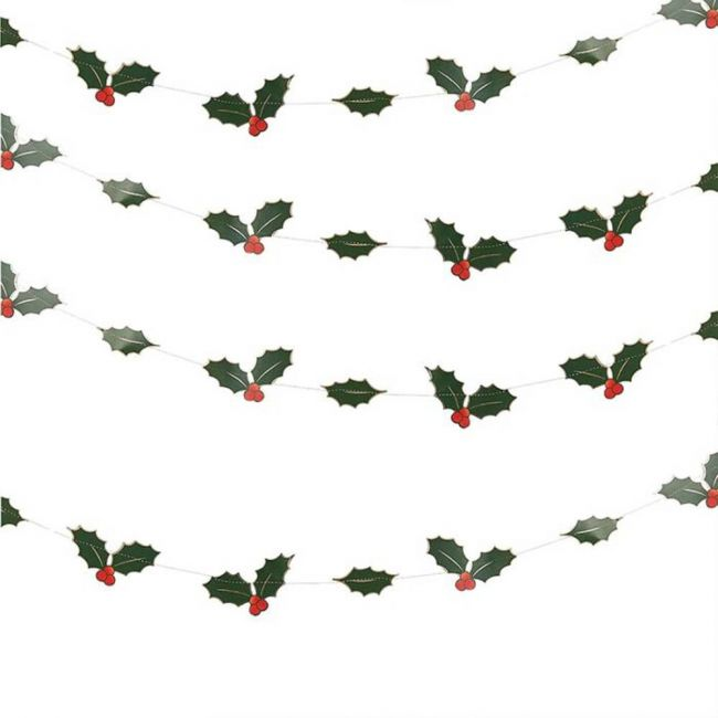 Ginger ray - Foiled Holly Leaves Garland