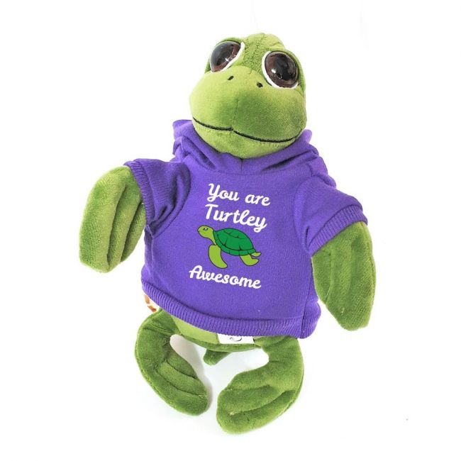 Caravaan - Cuddly Soft Toy Turtle With Trendy Purple You Are Turtley Awesome Hoodie