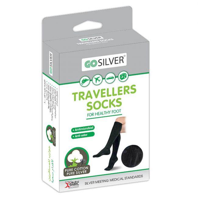 Go Silver - Compression Socks for Traveling - Black