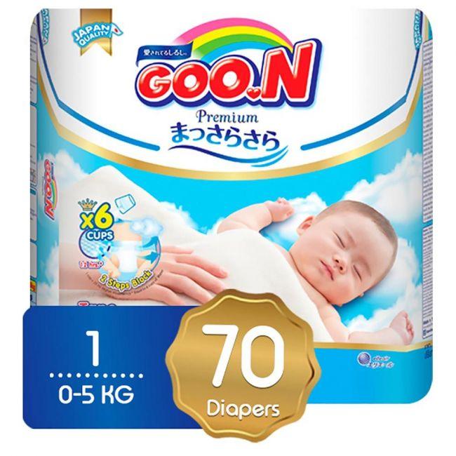 GOO.N Premium Diaper SJP NB Size 0-5kg - 70pcs