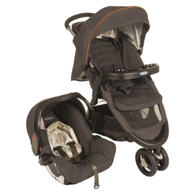 Graco - Fast Action Fold Sport Bowtie Bear Travel System Brown