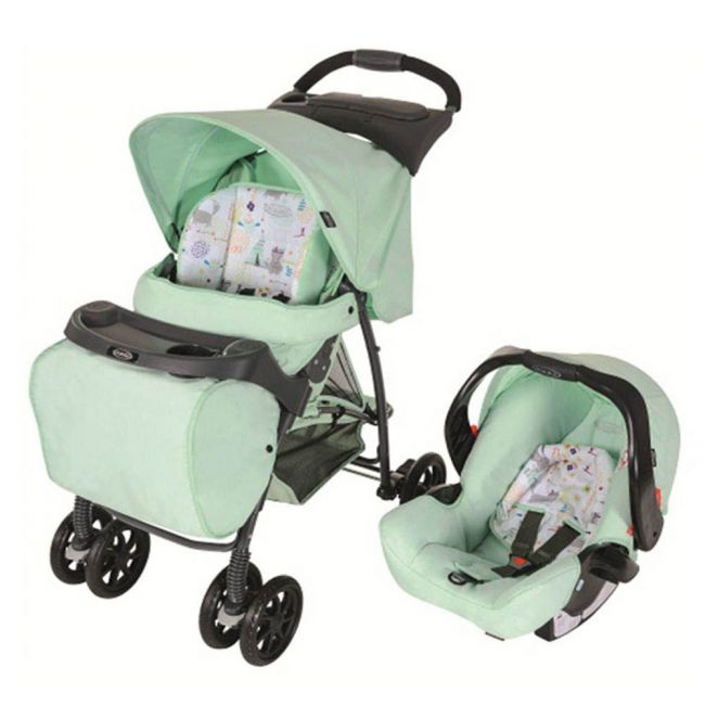 Graco - Travel System Mirage Plus With Parent Tray Aztec Car Seat & Stroller Set