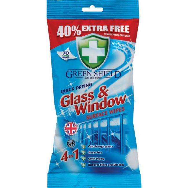 Greenshiield- Quick Drying Glass Window Surface Wipes 70s