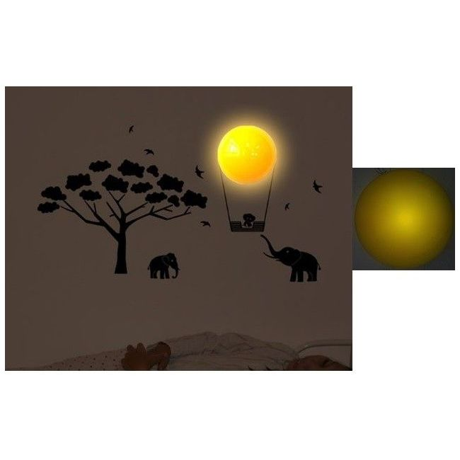 Baby Zoo Timer-based Cordless Wall Decor Light - Decals in Black