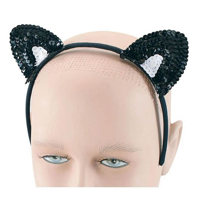 Halloween - Black Sequin Cat Ears Costume Acessory