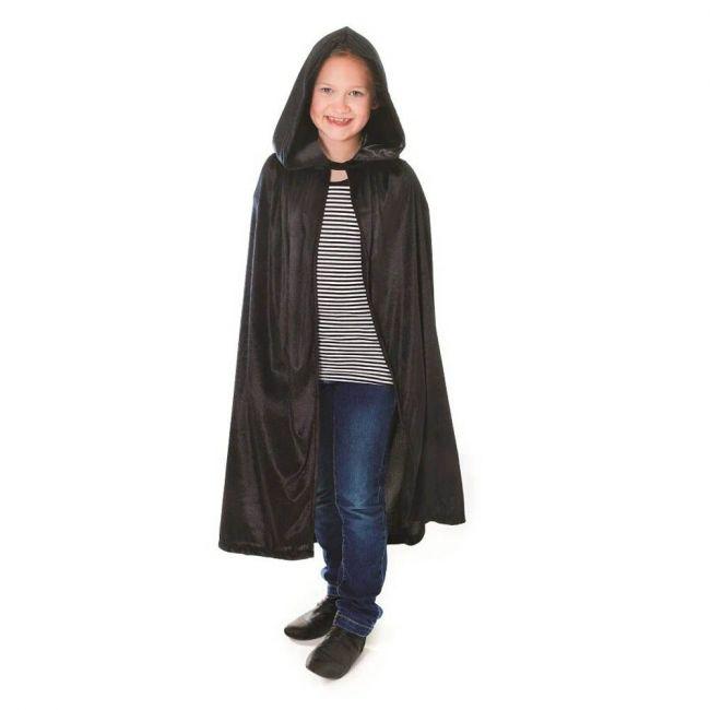 Halloween - Velvet Black Hooded Cloak Costume Accessory