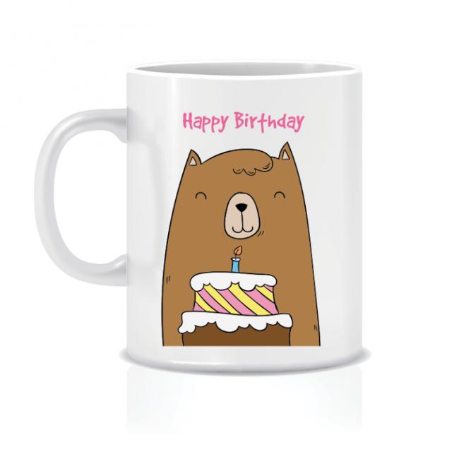 Twinkle Hands Happy Birthday Mug - Bear with Cake