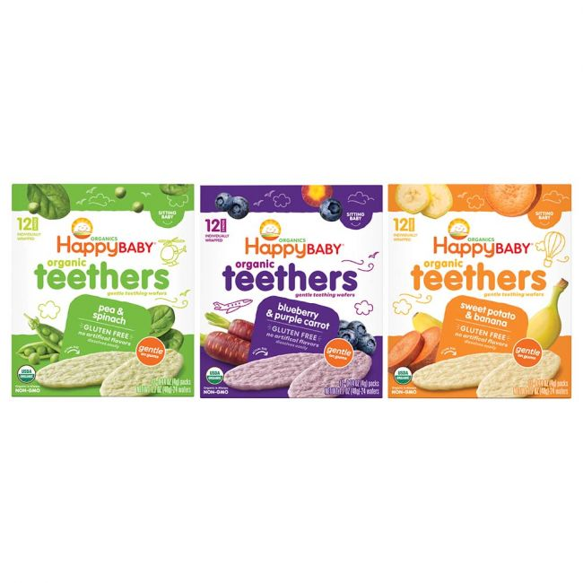 Happy Family - Organics Stage 1 Gentle Organic Teething Wafer Assorted Flavors 48g Each - Pack of 3