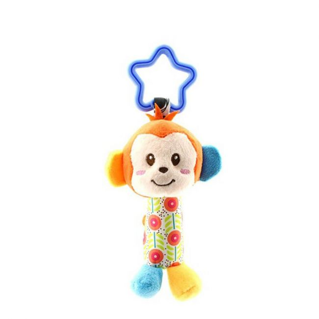 Happy Monkey - Baby Rattle Toys For Infant Soft Plush Stuffed Hanging Toy H168018-6D