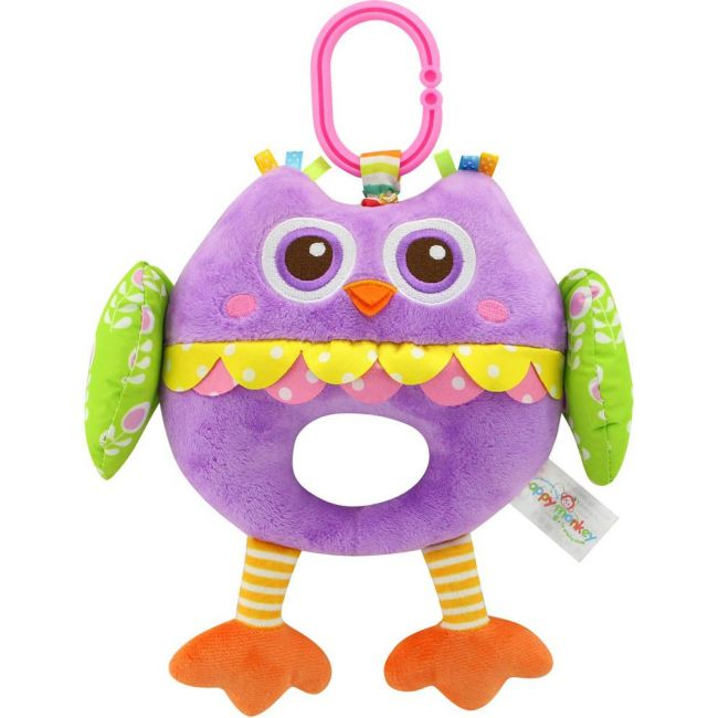Happy Monkey - Baby Rattle Toys For Infant Soft Plush Stuffed Hanging Toy H168055-4B