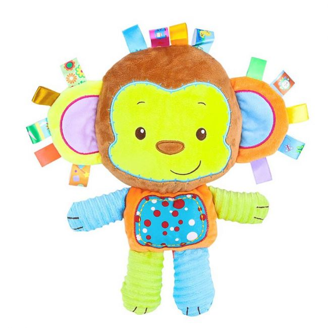 Happy Monkey - Baby Rattle Toys For Infant Soft Plush Stuffed Toy Green