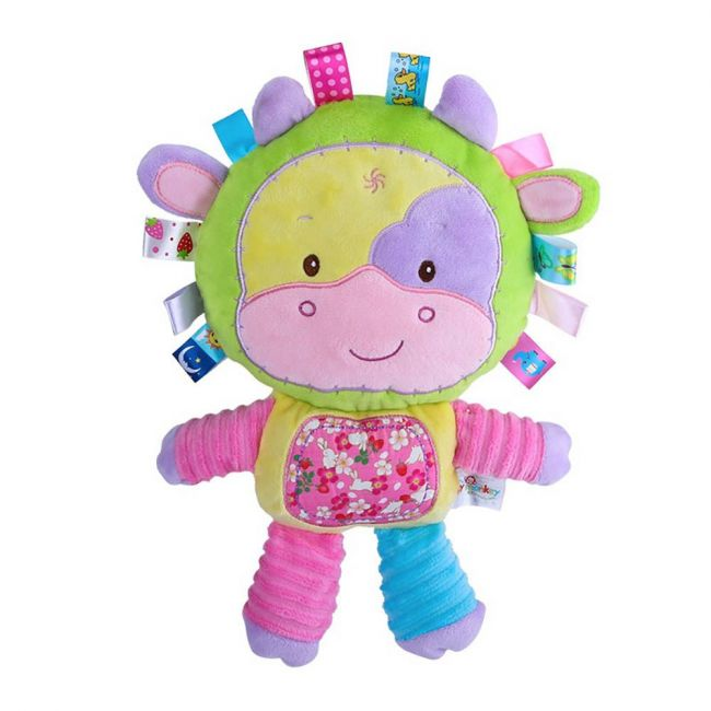 Happy Monkey - Baby Rattle Toys For Infant Soft Plush Stuffed Toy Purple