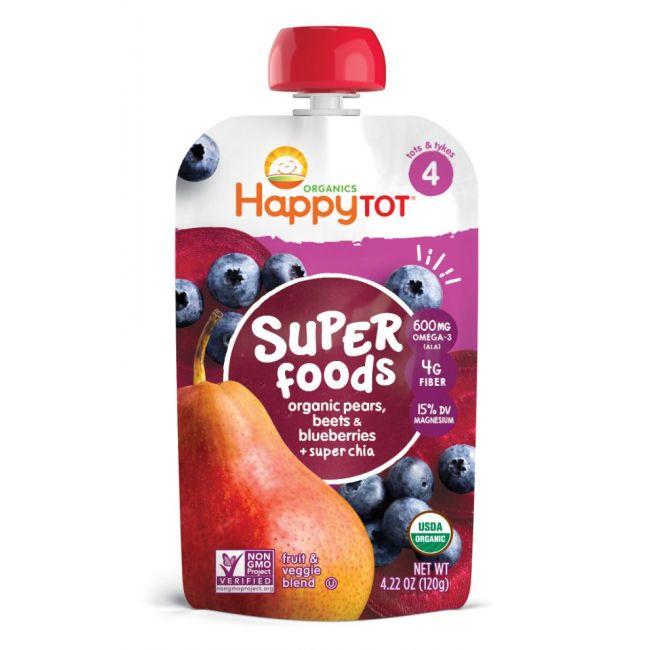 Happy - TOT 4 Foods - Pears Blueberries & Beets + Super Chia - 120g