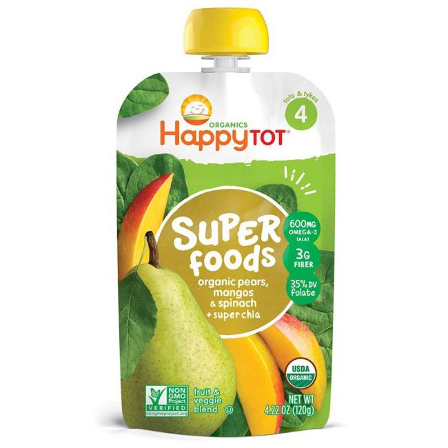 Happy TOT - S4 Pears Mangos & Spinach + Super Chia, 120g