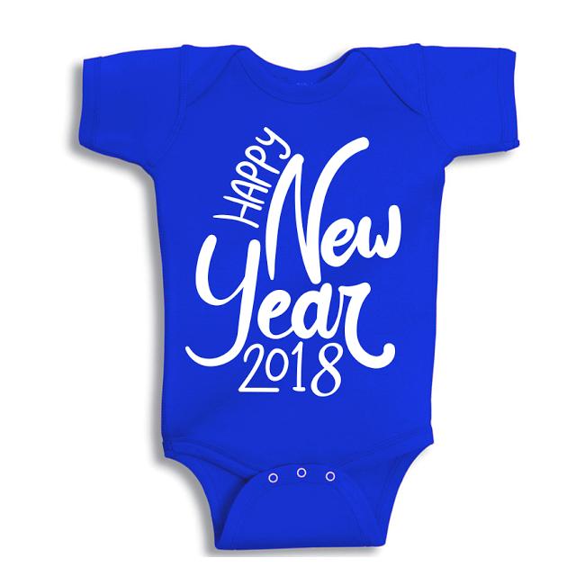 Twinkle Hands Happy New Year 2018, Blue Baby Onesie, Bodysuit, Romper