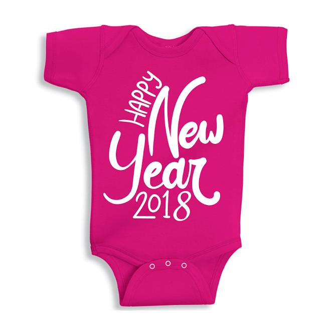 Twinkle Hands Happy New Year 2018, Pink Baby Onesie, Bodysuit, Romper