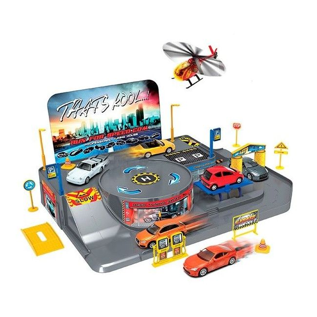 Welly Garage Playset with 4 Free Wheel Vehicles