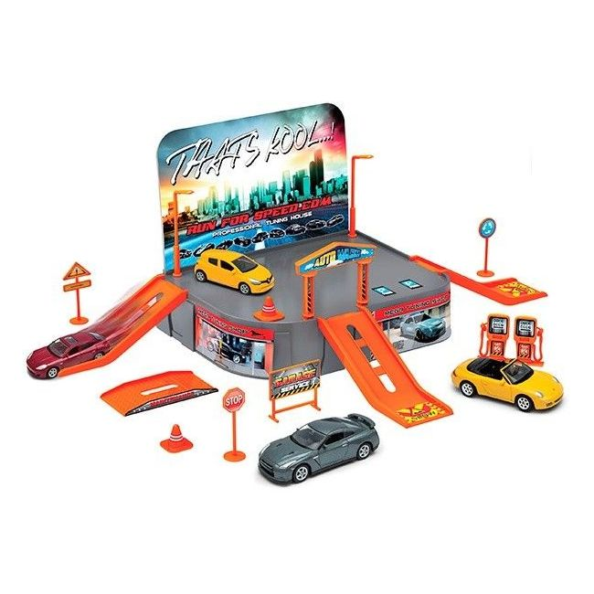 Welly Garage Playset with 1 Free Wheel Vehicles