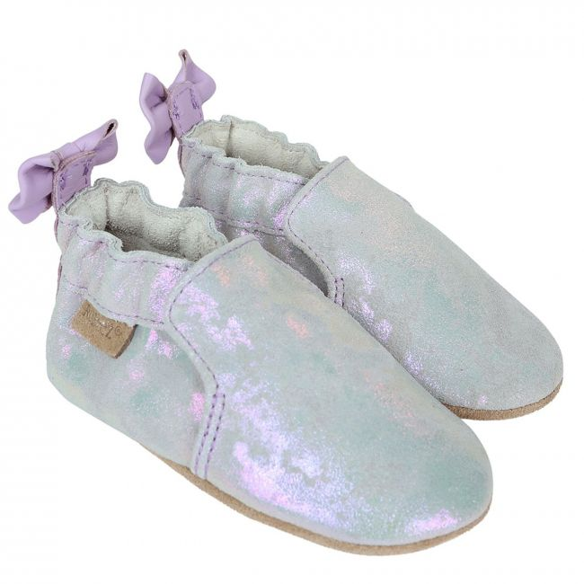 Robeez Pretty Pearl Soft Sole Shoes - For Girls - Silver
