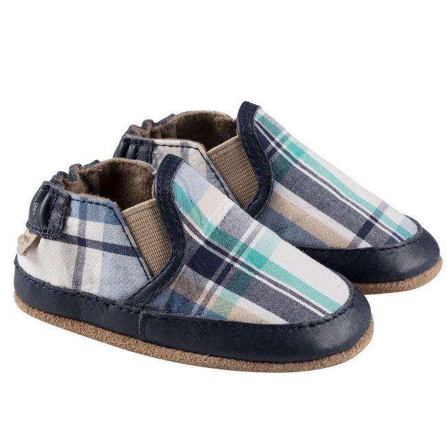 Robeez Liam Plaid Soft Sole Shoes - For Boys - Blue