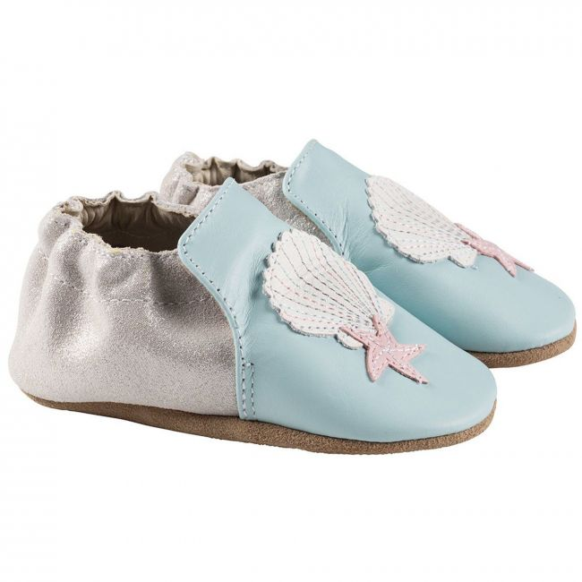 Robeez Shell and Sand Soft Sole Shoes - Light Blue