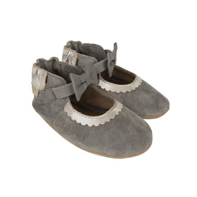 Robeez Keeping it Classy Mary Jane Soft Sole Shoes - For Girls - Grey